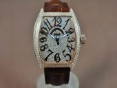 フランクミュラー 新作&送料込 Franck Muller Casablanca Men Diamond/RG Swiss 2824自動巻き J-FN0139